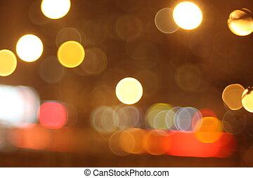 fokus, abstrakt, lichter, tränen, in, augenpaar, nacht, stadt