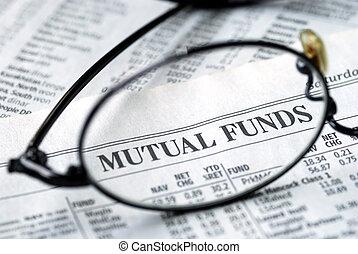 fokus, auf, investmentfonds, investieren