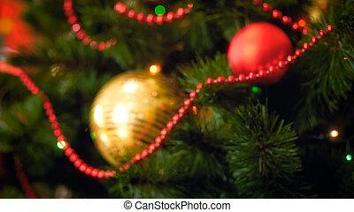fokus, bild, von, babubles, und, perlen, auf, weihnachtsbaum