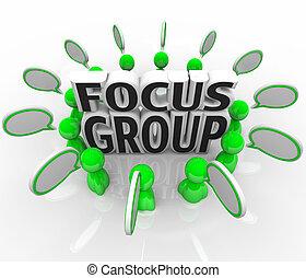 fokus gruppera, marknadsföra, diskussion, folk, meningar,...