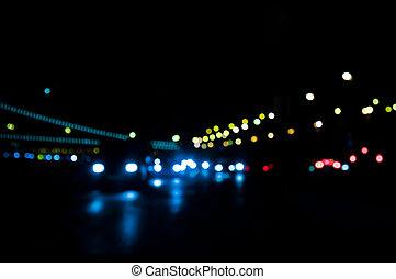 fokus, lichter, von, verkehr, und, stadt, nacht