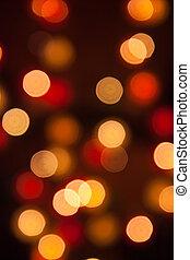 fokus, lichter, während, der, nacht, abstrakt, licht,...