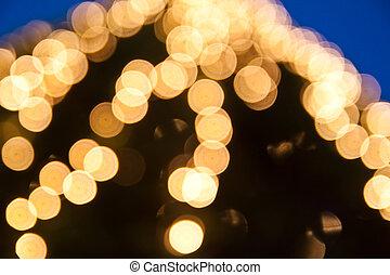 fokus, lichter, während, der, nacht, abstrakt, licht, hintergrund