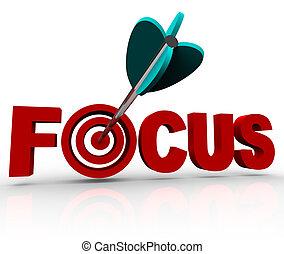 fokusera, ord, med, pil, slå, måltavla, bulls-eye