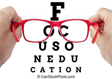 fokusera, på, utbildning