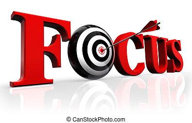 fokusera, röd, ord, och, begreppsmässig, måltavla