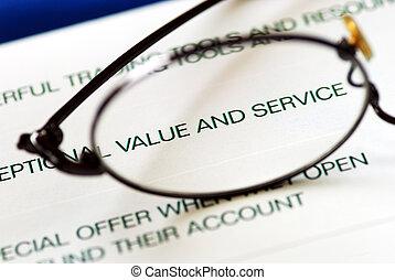fokusera, värdera, service