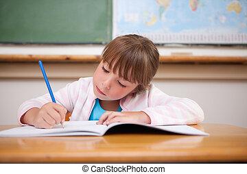 fokuserat, flicka, skrift