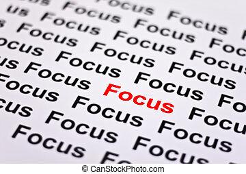 fokuserat, på, fokusera
