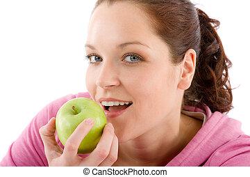 folâtre, femme, pomme, équipement, fitness, manger