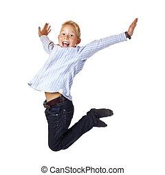 folâtre, garçon, sauts, bras, air, diffusion, heureux