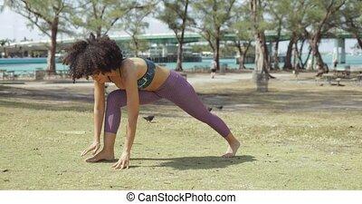 folâtre, parc, formation, femme, yoga