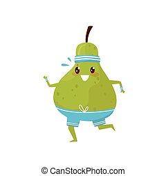 folâtre, rigolote, poire, caractère, illustration, fruit, vecteur, arrière-plan vert, fitness, blanc, courant, dessin animé, exercice