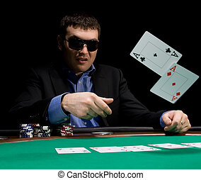 Fold in poker with two aces - Stylish man in black suit ...