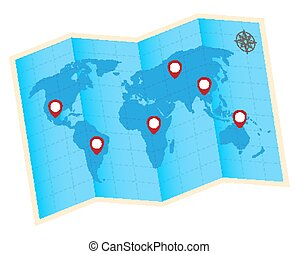 fold world map with red gps icon