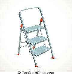 foldable, blanco, stepladder, aislado, plano de fondo