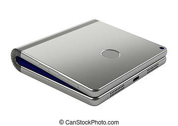foldable, smartphone, -, concetto, chiuso, flessibile, vista.