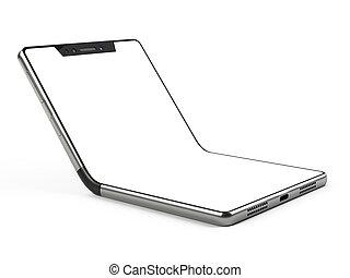 foldable, smartphone, display., -, concetto, sagoma, flessibile, bianco