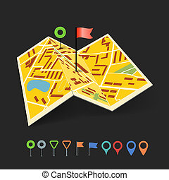 Folded abstract city map with collection of color point pins