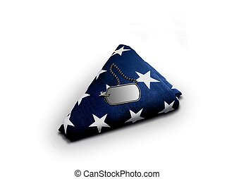American Flag with Military Dog-tag - Folded American Flag...