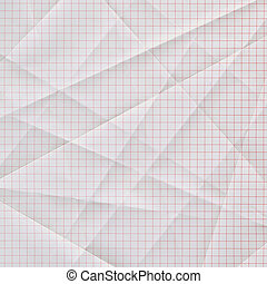 folded and creased white graph paper with red grid