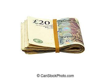 Folded Cash - 20 pound notes