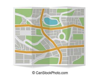 Folded city map. 3d illustration