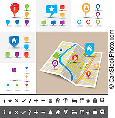 Folded City map with GPS Pin Icons and markers
