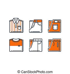 Folded clothes, men's casual clothing, striped shirt and jeans, t-shirt and track bottoms