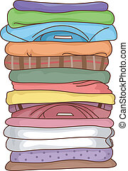 Folded Clothes - Illustration Featuring a Pile of Folded...