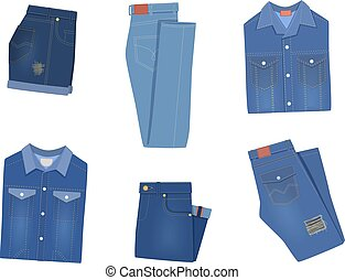 Folded denim clothes. Trendy various fashion jeans garment blue shorts, breeches and pants, jacket, shirt and overalls. Cotton stylish casual clothing collection vector isolated set