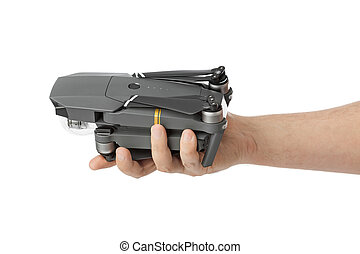 Folded drone in hand