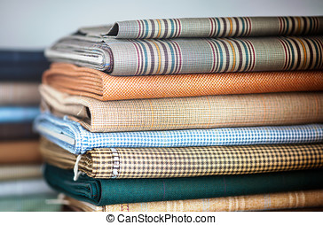 Folded fabrics in a neat stack