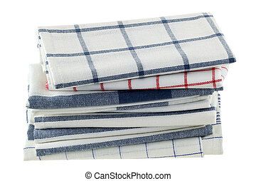 Folded kitchen towels on white