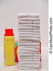 Folded Laundry and Soap - Laundry Day - Folded washcloths...