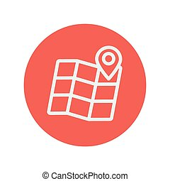 Folded map with pin thin line icon for web and mobile...