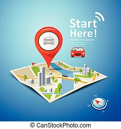 Folded maps car navigation vector with red color point markers