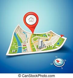 Folded maps navigation with red color point markers design...