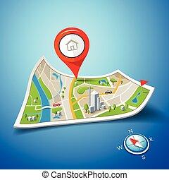 Folded maps navigation with red color point markers design background, vector illustration