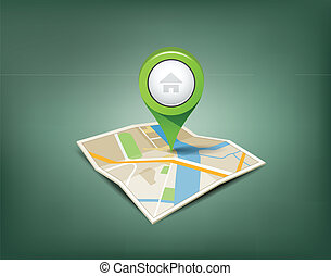 Folded maps with green color point markers design background, vector illustration