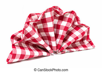 Checkered folded napkin as decoration for table