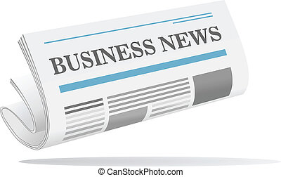 Folded newspaper icon with header Business News isolated on...