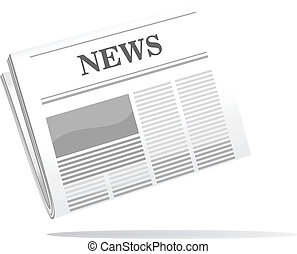 Folded newspaper icon with news header, cartoon vector...