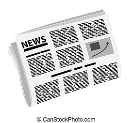 Folded newspaper in half. News or events. Badge or logo of news or yellow press.