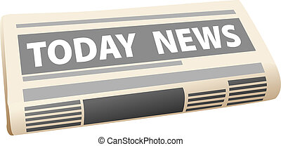 Folded cartoon newspaper icon with the header Todays News, isolated on white background