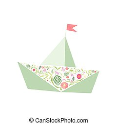 Folded Paper Boat Decorated with Floral Seamless Pattern Vector Illustration