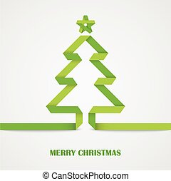 Folded paper Christmas green tree card