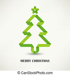 Folded paper Christmas green tree