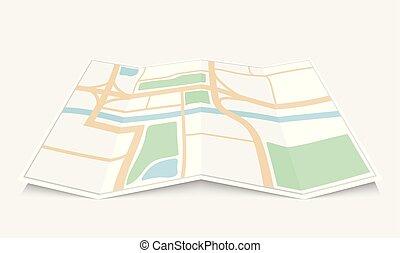 Folded paper city map, vector illustration