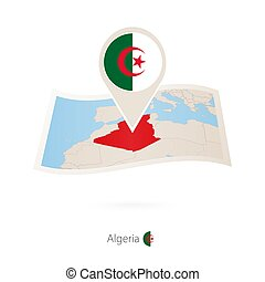Folded paper map of Algeria with flag pin of Algeria.